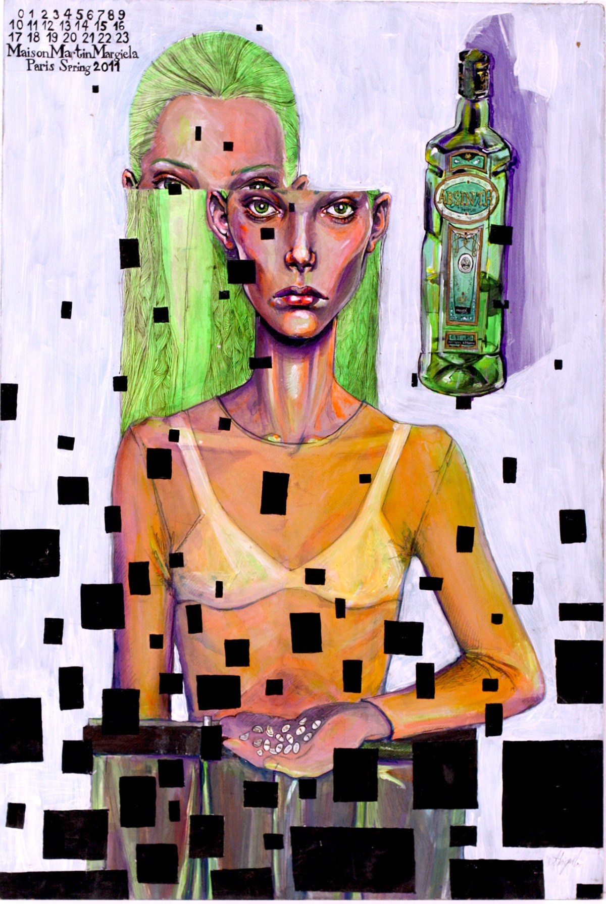 faSHioN_aND_dePResSioN_(2016)_ _ _acRyLic_on_CAnvas_wiTh EmBRoidERy - 1 by wiRTh aBigAiL