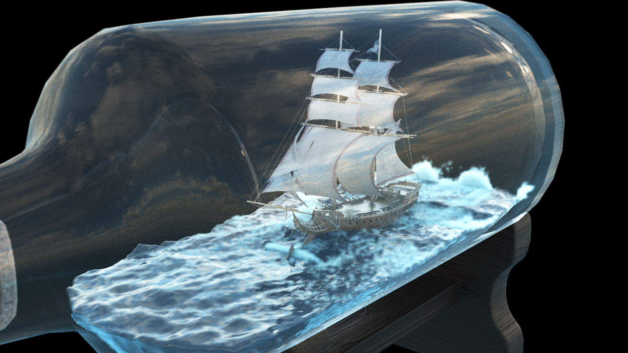 Boat in Bottle - 1 by Tallósi Dávid