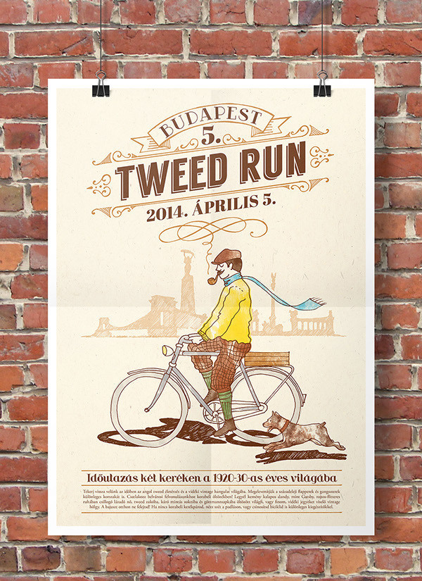 Tweed Run Budapest 2014 poster and tote bag design - 1 by Hédi vagyok