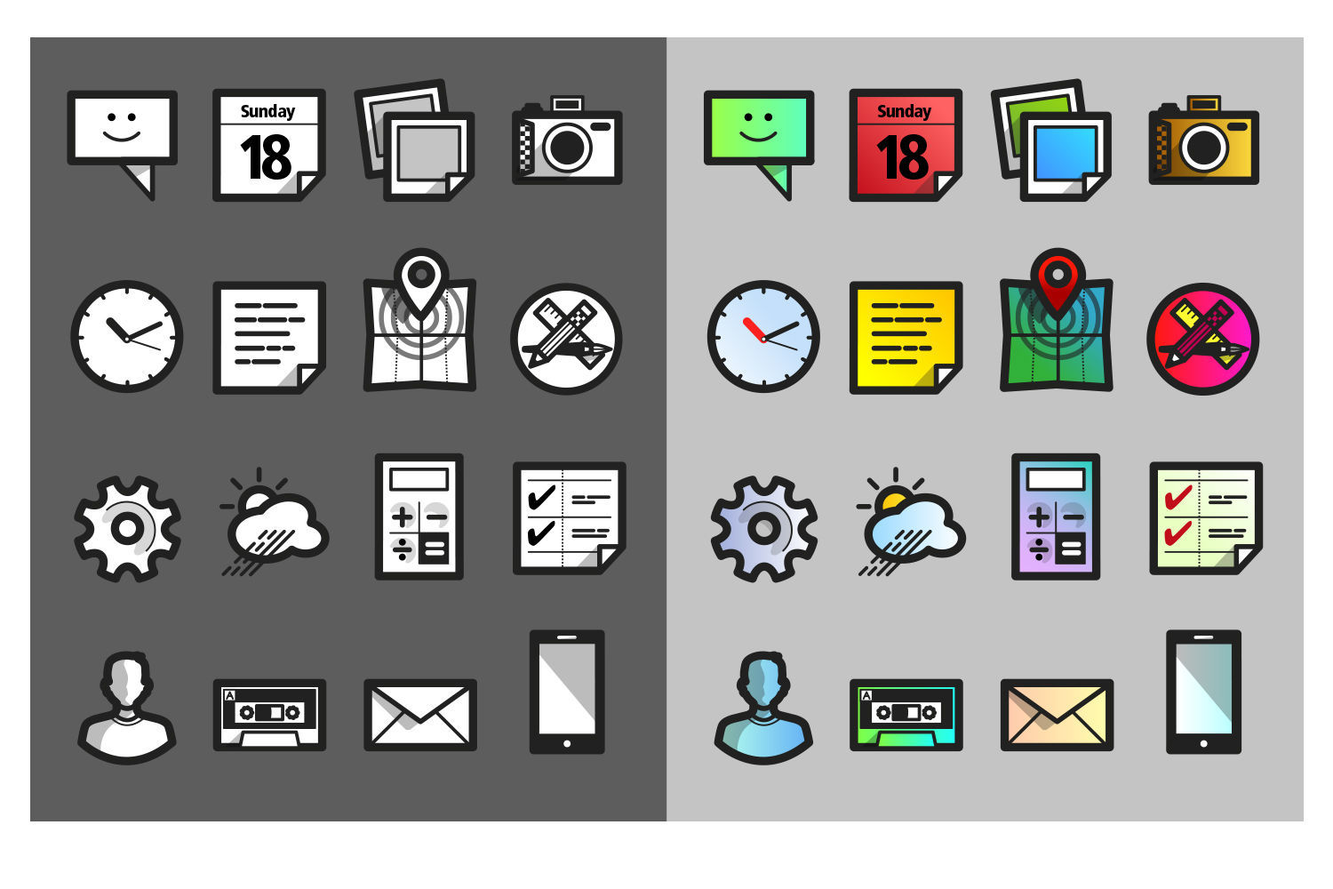 Mobile icon set - 1 by Czeizler Zsolt