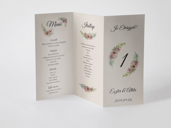 Wedding menucard with hand painted flowers