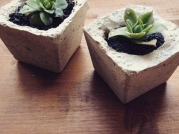 Industrial concrete small plant pot by Rustycity