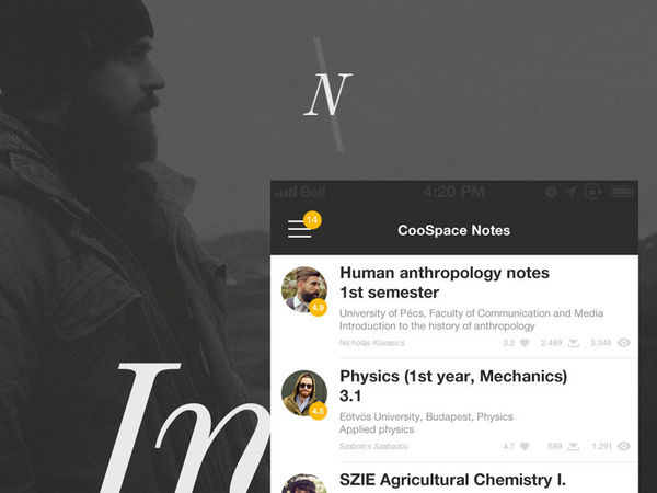 CS Note UI design koncepció