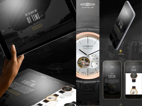 Zeppelin luxury watch responsive webdesign concept